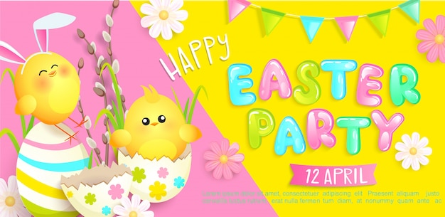 Happy easter party invitation banner with beautiful camomiles, painted eggs and chickens with rabbits ears, flags.