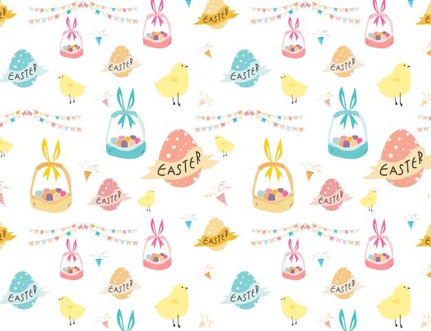 Happy easter pattern background, cute easter pattern for kids, vetor illustration.