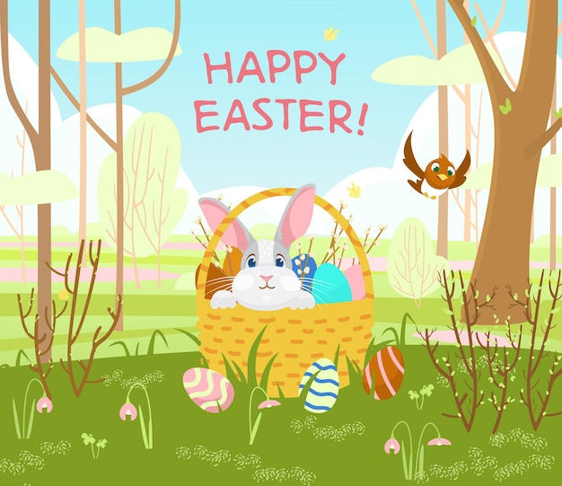 Happy easter postcard with cute bunny in a wicker basket