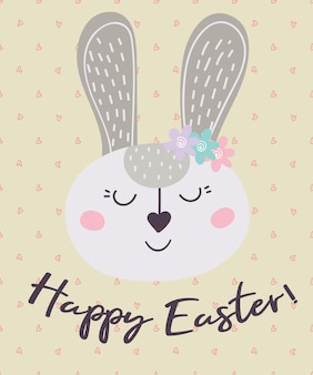 Happy easter. a postcard with a rabbit.  vector illustration