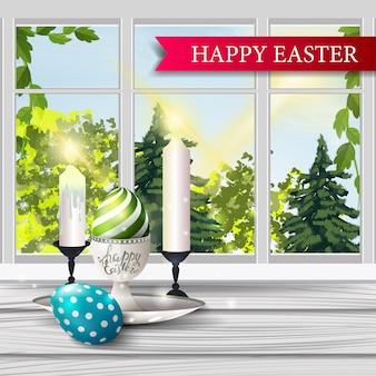 행복 한 부활절, 봄 풍경과 엽서