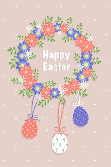 ハッピーイースターポストカード。春の要素、花、卵でお祝いの装飾。ベクトルフラットイラスト