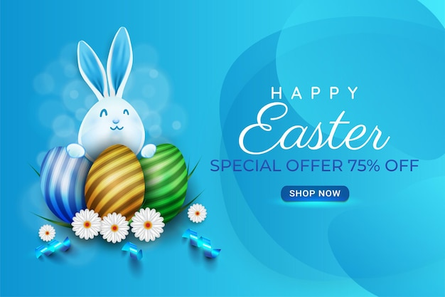 Happy easter poster background or banner design with coloful easter eggs
