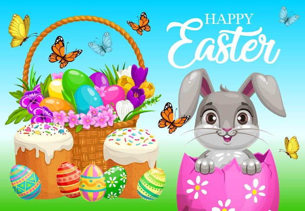 ハッピーイースターのポスター、バスケットとフィールドの装飾された卵の中に座っているかわいいウサギ