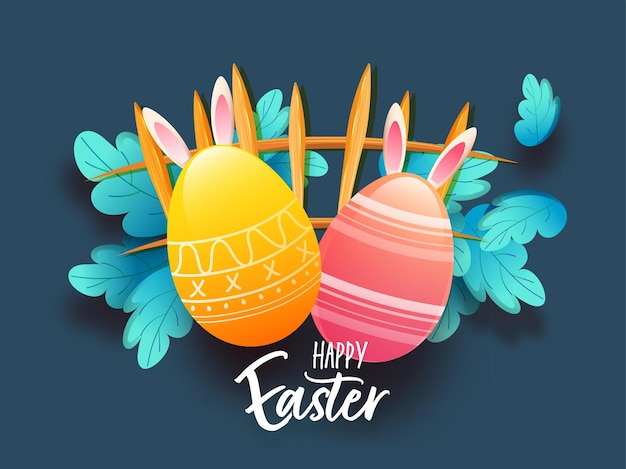 Happy easter poster design with glossy eggs, bunny ears, leaves and fence on blue background.