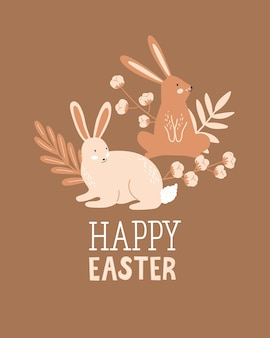 Happy easter poster, print, greeting card or banner with bunny or rabbit, sprig of cotton, plants and lettering or text. vector hand drawn illustration.