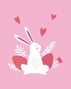 ハッピーイースターのポスター、印刷物、グリーティングカードまたはバナー、卵、白いウサギまたはウサギ、春の花、植物、ピンクの背景にハート。ベクトル手描きイラスト。