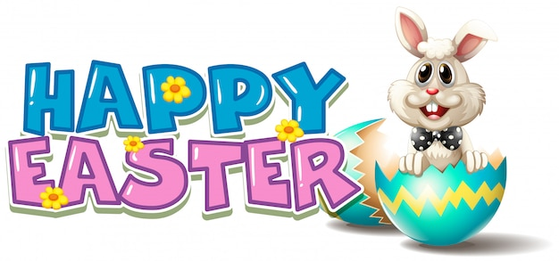Happy easter poster with bunny in blue egg