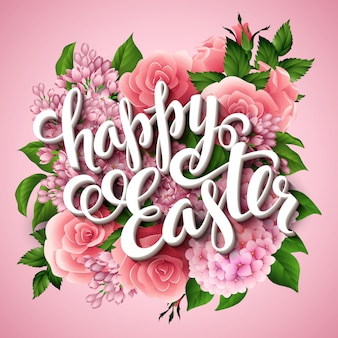 Happy easter poster with flowers and lettering