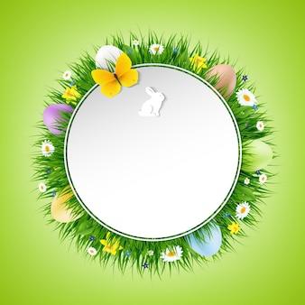 그라디언트 메쉬 일러스트와 함께 행복 한 부활절 포스터