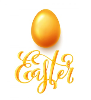 Happy easter poster with hand drawn lettering and realistic gold egg