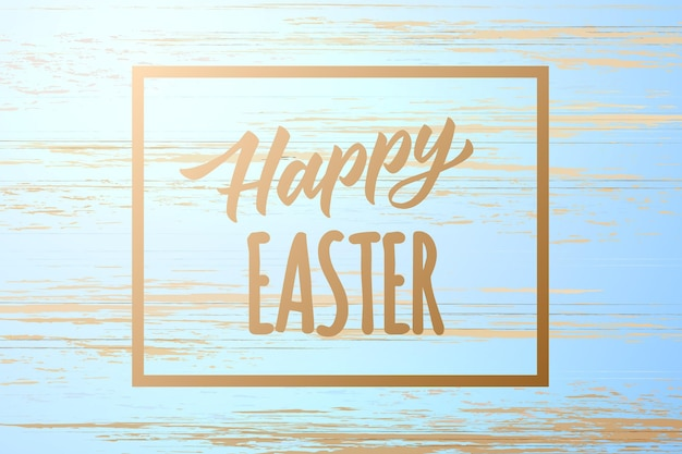 Happy easter poster on wooden vintage texture background