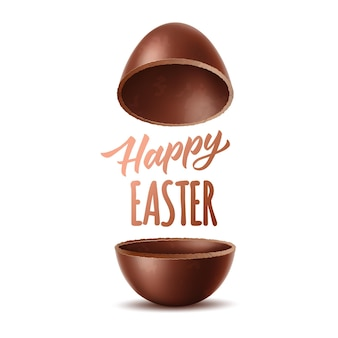 Happy easter realistic chocolate egg halves