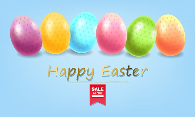 Happy easter, realistic eggs set, colorful eggs banner, white background