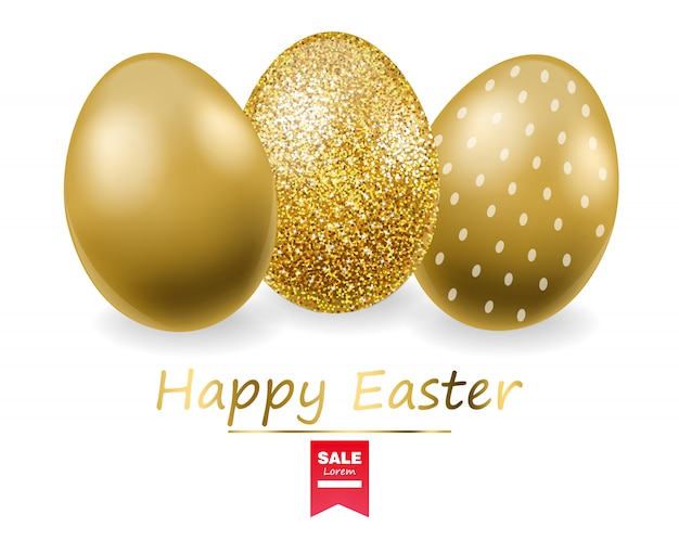 Happy easter, realistic eggs set, golden glitter eggs banner, white background