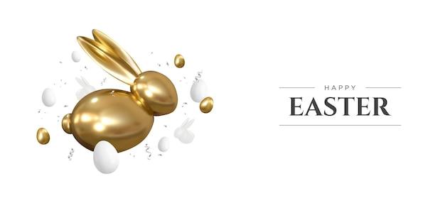 Счастливой пасхи. реалистичный золотой кролик и яйца. пасхальные декоративные предметы. . Premium векторы