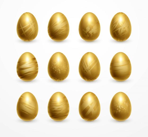 행복 한 부활절 현실적인 황금 빛 계란 세트 장식.