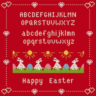 フォントとウサギとハッピーイースター赤い背景。イースターバニーと草の卵のニットシームルパターン。図。