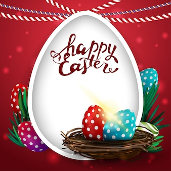 Happy easter red postcard with big egg