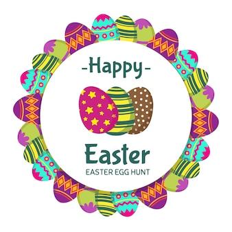 Счастливой пасхи круглый баннер с окраской яиц