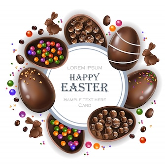 Happy easter round card with chocolate bunny and eggs