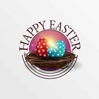 Happy easter round greeting pink banner