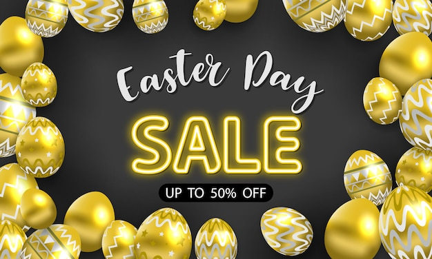 Happy easter sale background. shine decorated gold eggs