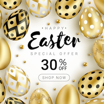 Happy easter sale banner concept decorated with realistic shine golden eggs and gold beads isolated on white background.