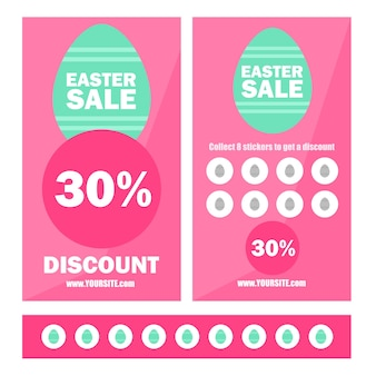 Happy easter sale banner with geometric background, eggs and frame. promotion coupons with stickers and discount