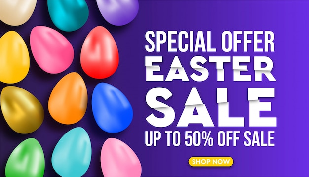 Happy easter sale promotion design and banner template.