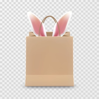 Happy easter sale. realistic paper shopping bag with handles isolated on transparent background.