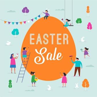 가족, 아이들과 함께 행복한 부활절 장면. 부활절 판매 이벤트, 홍보 디자인 및 배너