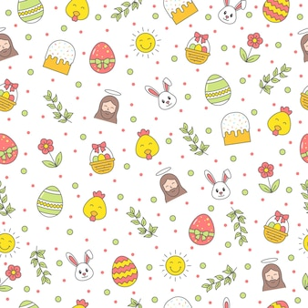 Happy easter seamless pattern with bunny, jesus christ, egg, flower, branch, chicken on white background. greeting, gift wrapping paper and wallpaper
