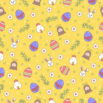 Happy easter seamless pattern with bunny, jesus christ, egg, flower, branch, chicken on yellow background. greeting, gift wrapping paper and wallpaper  .