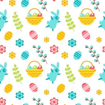 토끼, 잎, 바구니, 계란, 꽃, 흰색 배경에 고립 된 버드 나무와 함께 행복 한 부활절 완벽 한 패턴입니다. 벡터 평면 그림입니다. 섬유, 포장, 벽지, 배경 디자인