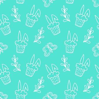 토끼, 잎, 컵 케 잌은 흰색 배경에 고립 된 행복 한 부활절 완벽 한 패턴입니다. 벡터 낙서 그림입니다. 섬유, 포장, 벽지, 배경 디자인
