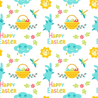 Happy easter seamless pattern with cloud, dragonfly, bunny, leaves, basket, flower, willow  isolated on white background. vector flat illustration. design for textile, wrapping, wallpaper, backdrop