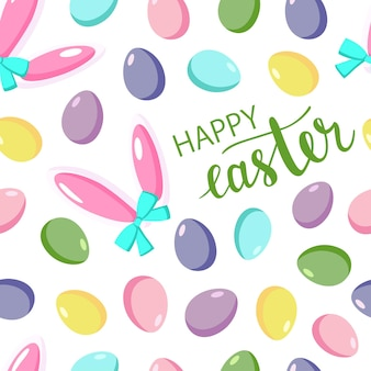 Happy easter seamless pattern with colorful eggs on white background