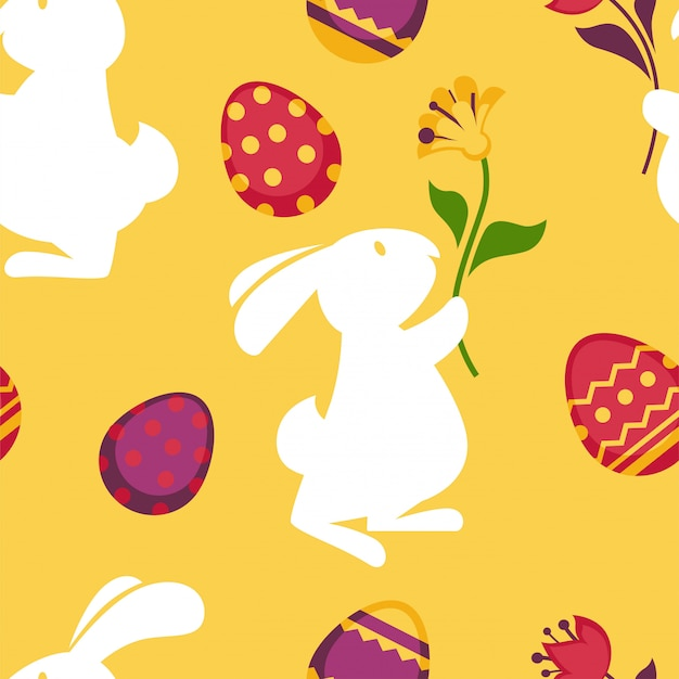 Happy easter seamless pattern with decorated eggs