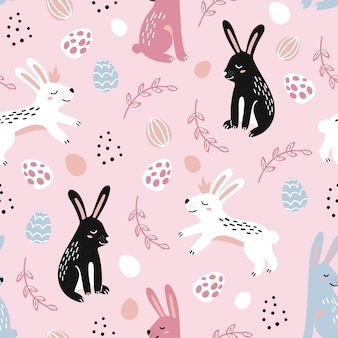 Happy easter seamless pattern with decorated painted easter eggs and rabbits.