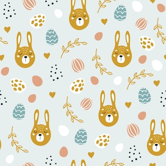 Happy easter seamless pattern with decorated painted easter eggs and rabbits