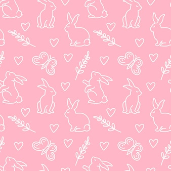 ピンクの背景に分離されたさまざまなポーズのバニー、葉、ハート、蝶のハッピーイースターシームレスパターン。ベクトル落書きイラスト。テキスタイル、ラッピング、壁紙、背景のデザイン