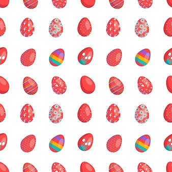 卵とハッピーイースターシームレスパターン赤い色で描かれたお祝いの装飾