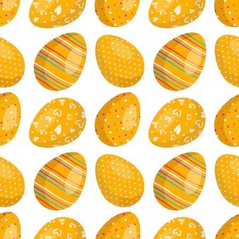 卵とハッピーイースターシームレスパターン抽象的な要素とお祝いの装飾
