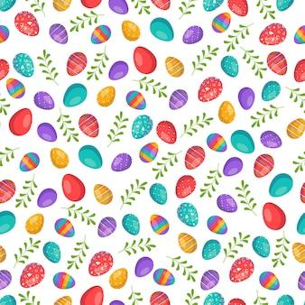 卵とハッピーイースターシームレスパターンヤシの枝と葉でお祝いの装飾
