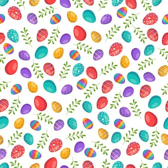 Happy easter seamless pattern with eggs festive decoration with palm branch and leaves