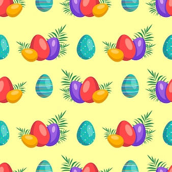 Happy easter seamless pattern with eggs symbol of the christian spring holiday festive decoration