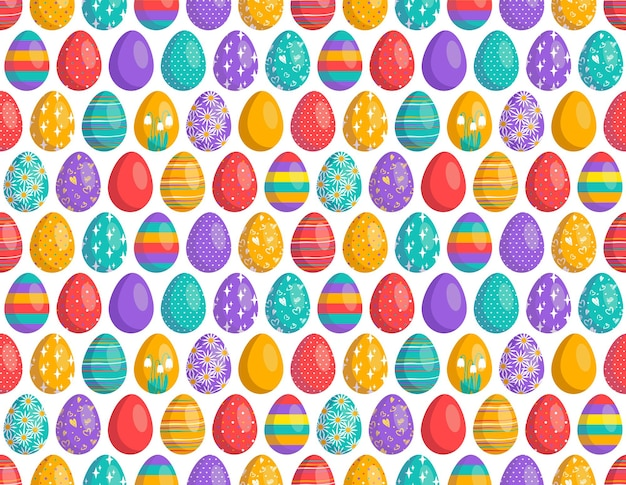 Happy easter seamless pattern with eggs the symbol of the christian spring holiday