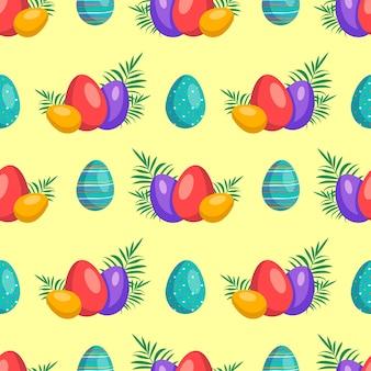 卵とハッピーイースターのシームレスなパターンキリスト教の春の休日のお祝いの装飾のシンボル