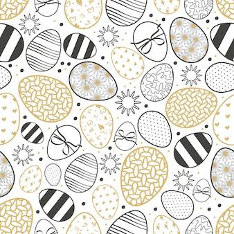 卵とハッピーイースターシームレスパターンキリスト教の春の休日のシンボル